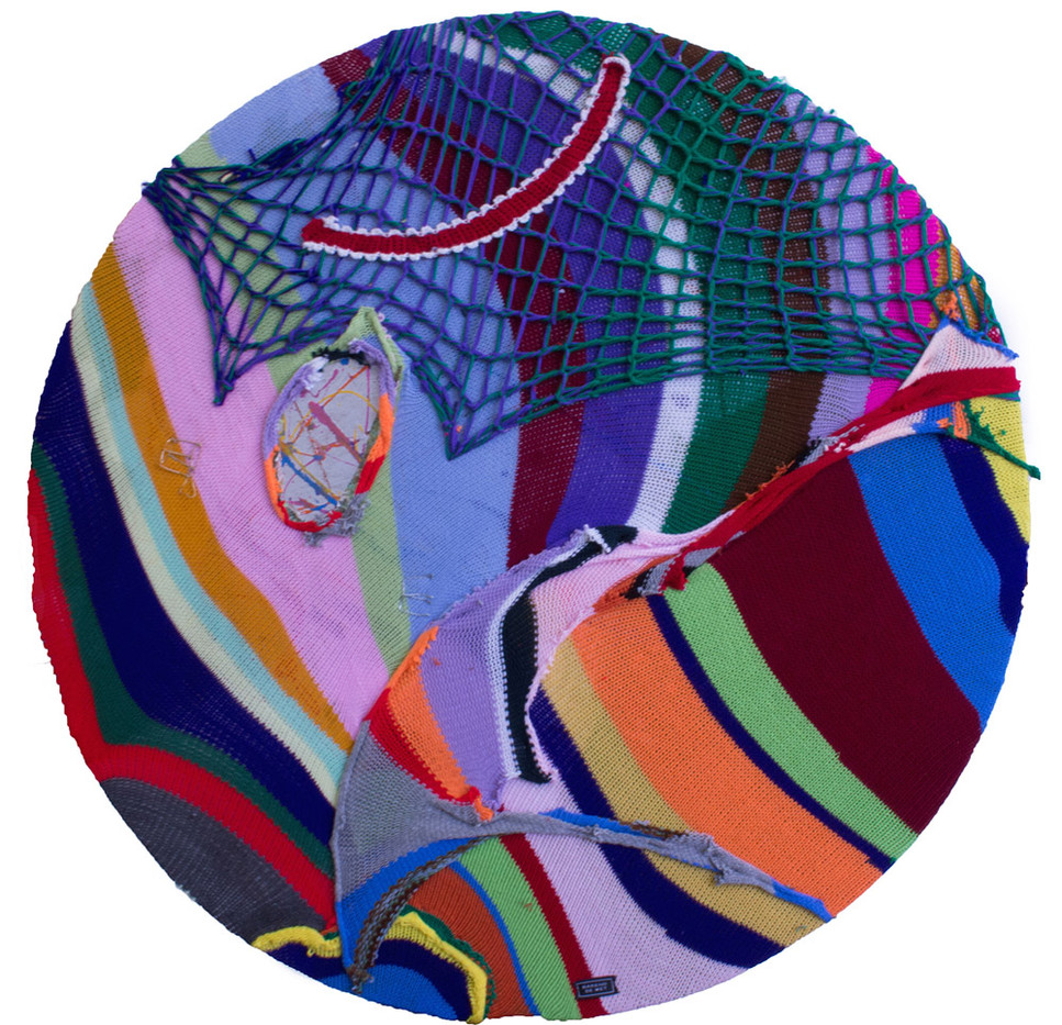 Barend De Wet | Maximalist 7, Wool Works 5 | 2015 | 100% Acrylic Knitting and Found Objects on Plywood | 120 cm Di