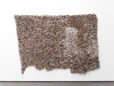 Wallen Mapondera | Tales From the Dumpsite | 2017 | Cardboard Stitched on Canvas | 193 x 273 cm