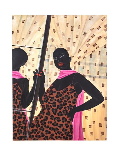 Zandile Tshabalala   Self Check: Lady in pink scarf   2021   Acrylic on Canvas   120 x 90 cm