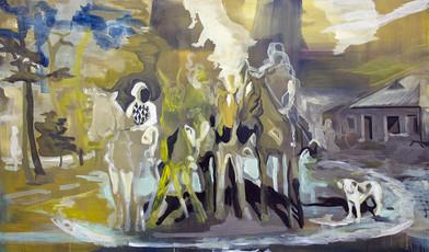Kate Gottgens | Four Horsemen | 2015 | Oil on Canvas | 130 x 220 cm