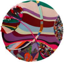 Barend de Wet | Maximalist Circle Knitting III | 2012 | Acrylic Wool and Paint on Board | 122 cm Diameter
