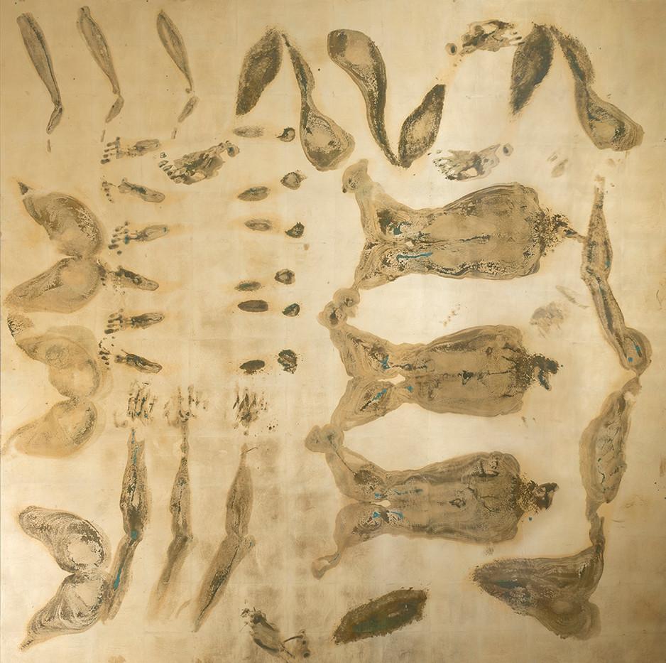 Pierre Vermeulen | 30 seconds Sweat Prints in Square, nr.1 | 2017 | Gold Leaf Imitate on Aluminium, Sweat | 190 x 190 cm