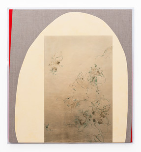 Pierre Vermeulen | Hair orchid sweat print, yellow-beige and vermillion | 2019 | Sweat, Gold Leaf Imitate, Shellac and Acrylic on Belgian Linen | 97 x 90.5 x 4.5 cm