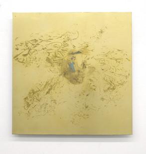 Pierre Vermeulen | Untitled Sweat Print Portrait nr.3 | 2017 | Gold Leaf Imitate on Aluminium, Sweat | 55 x 55 cm