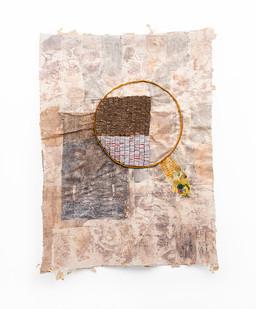 Wallen Mapondera   Laboratory   2020   Cardboard, Waxed Thread, Ink and Wax Paper on Canvas   200 x 194 x 4 cm
