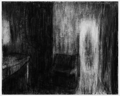 Johann Louw | Interieur met Bank (Ouvloer) | 2014 | Charcoal on Paper | 125 x 155 cm