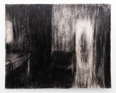 Johann Louw   Interieur met Bank (Ouvloer)   2014   Charcoal on Hahnemühle   125 x 155 cm