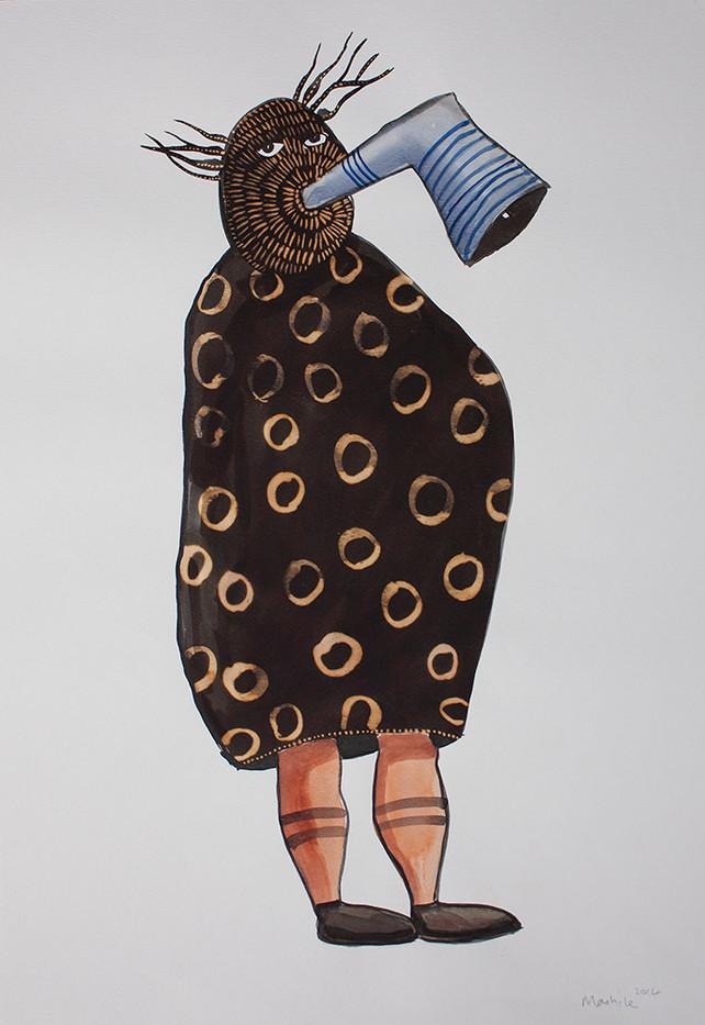 Colbert Mashile   Leloko II   2014   Watercolour and Bleach on Paper   63 x 45 cm