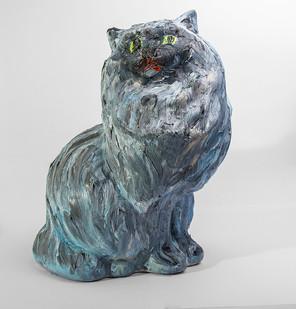 Georgina Gratrix | Fat Cat | 2016 | Oil on Ceramic | 37.5 cm