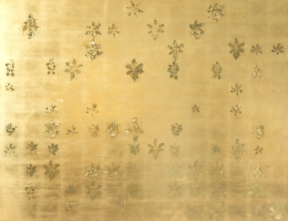 Pierre Vermeulen | 154 | 58 Hair Orchid Print | 2017 | Gold Leaf Imitate on Aluminium, Sweat | 150 x 195 cm