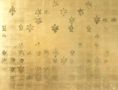 Pierre Vermeulen   154   58 Hair Orchid Print   2017   Gold Leaf Imitate on Aluminium, Sweat   150 x 195 cm