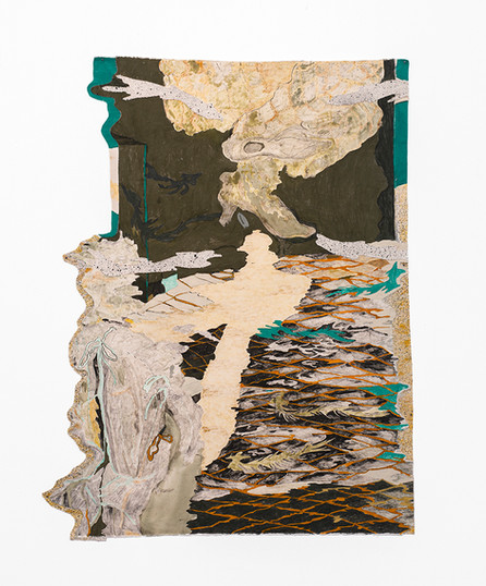 Jeanne Gaigher   ankle point   2020   Acrylic, Ink on Canvas and Scrim   140.5 x 111.5 cm