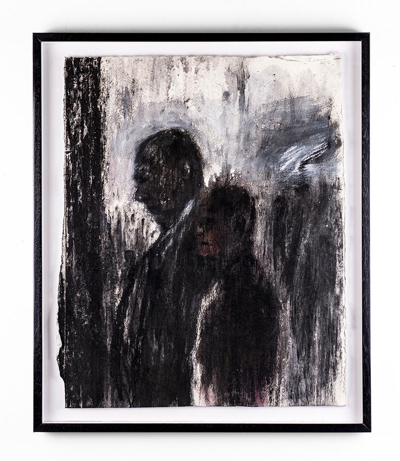 Johann Louw | Twee Figure | 2018 | Charcoal on Paper | 60.5 x 50 cm