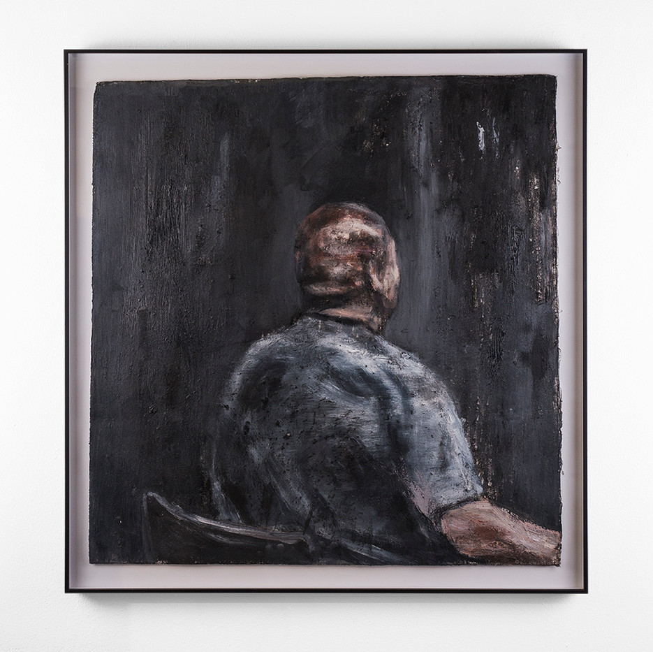 Johann Louw   Rugportret   2018   Oil and Charcoal on Paper   63 x 60.5 cm