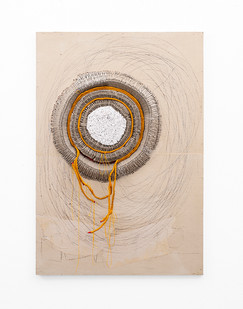 Wallen Mapondera   Mbeu (the seed) I   2020   Egg Crates, Cotton Buds, Waxed Thread, Wax Paper on Board   122.5 x 84 x 9 cm