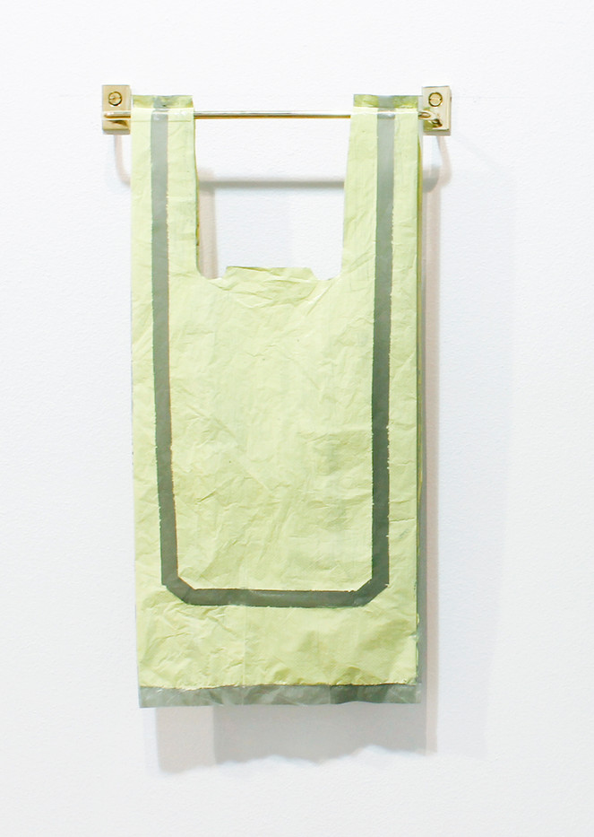 Helen A. Pritchard | Untitled - Carrier 40 | 2013 | Polythene Carrier Bag, Oil Paint and Brass Rail | 40 x 20 cm