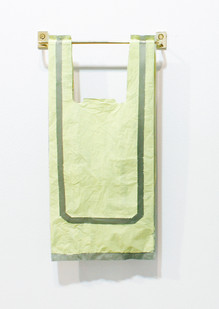 Helen A. Pritchard   Untitled - Carrier 40   2013   Polythene Carrier Bag, Oil Paint and Brass Rail   40 x 20 cm