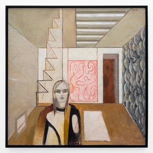 Simon Stone | Room with Steps | 2019 | Oil on Board | 111.5 x 111 cm