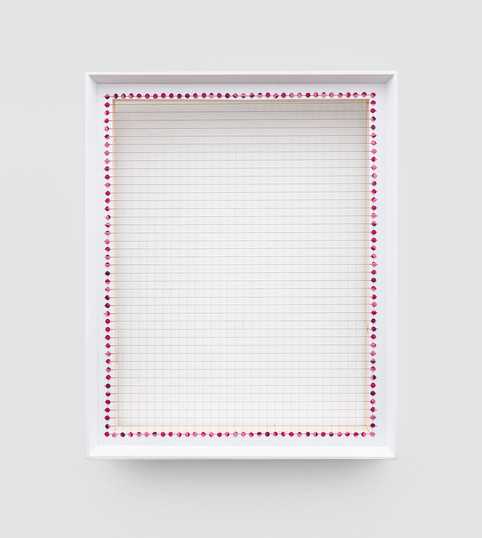"""Bonolo Kavula   """"I remember you""""   2020   Punched Shweshwe, Thread, Wood   48 x 35 cm"""
