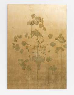 Pierre Vermeulen | Orchid Study in Sweat nr. 3 | 2017 | Gold Leaf Imitate on Aluminium, Sweat | 150 x 105.5 cm