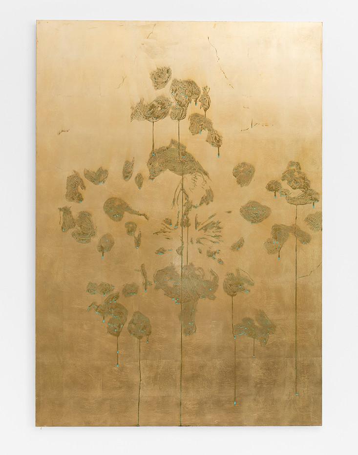Pierre Vermeulen | Orchid Study in Sweat nr. 3 | 2017 | Gold Leaf Imitate on Aluminium, Sweat | 150 x 105.5 cm