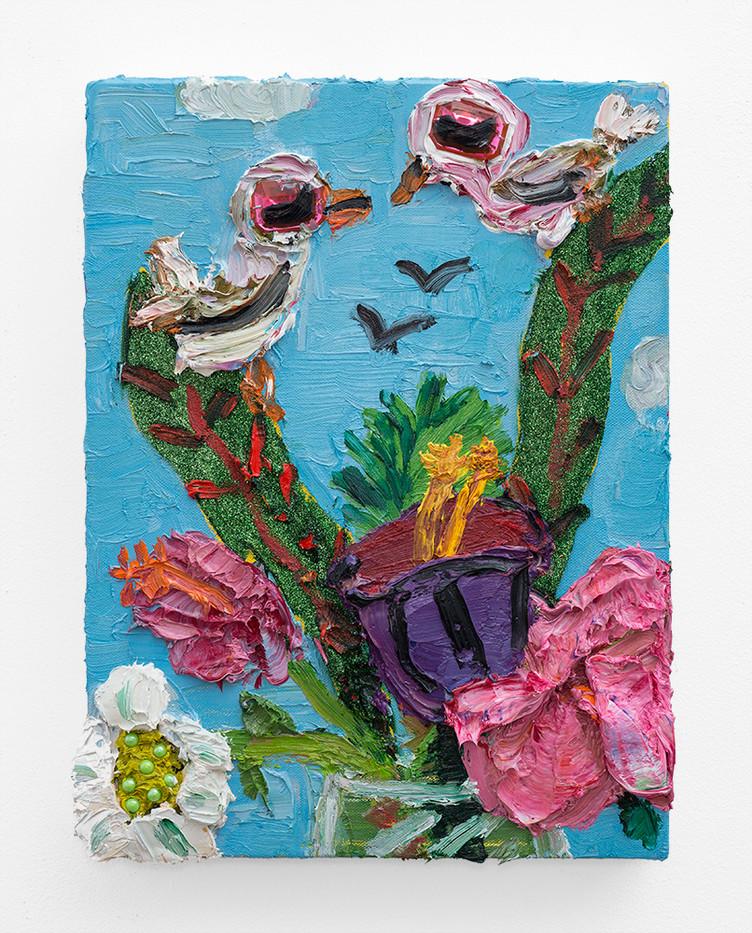 Georgina Gratrix | Lucky Ducks (Geese) | 2018 | Oil on Canvas | 40 x 30 cm
