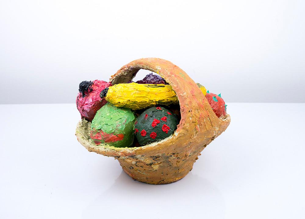 Georgina Gratrix | Fruit Basket | 2018 | Oil on Ceramic | 21 x 30 x 22 cm