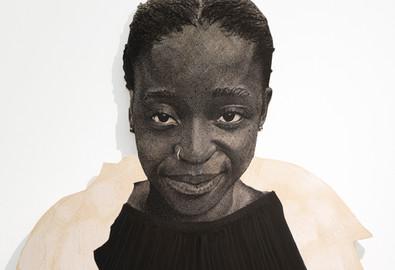 "Luyanda Zindela | ""I'm a fun time"" | Detail | 2021 | Acrylic Paint Marker on Pine Board | 170 x 100 cm"
