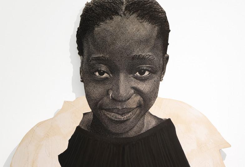 "Luyanda Zindela   ""I'm a fun time""   Detail   2021   Acrylic Paint Marker on Pine Board   170 x 100 cm"
