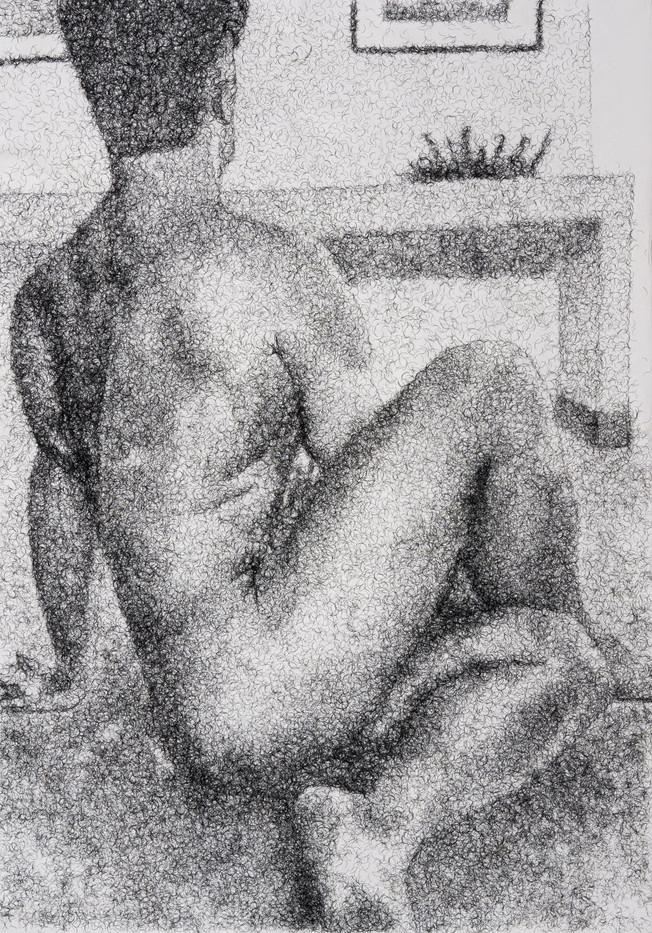 Frances Goodman | Figure Study V | 2020 | False Eyelashes, Methyl Cellulose, Fabriano Paper | 100 x 71 cm