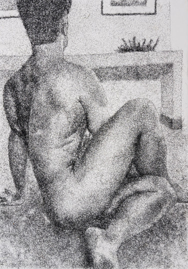 Frances Goodman   Figure Study V   2020   False Eyelashes, Methyl Cellulose, Fabriano Paper   100 x 71 cm