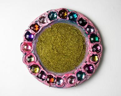Georgina Gratrix | Pink & Gold Bedazzle Plate | 2016 | Oil on Ceramic | 31 cm