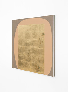Pierre Vermeulen   Hair orchid sweat print, peach form (Side View)   2018   Sweat, Gold Leaf Imitate, Shellac and Acrylic on Belgian Linen   95 x 82 cm