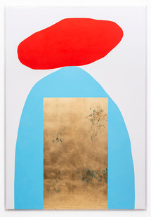 Pierre Vermeulen | Hair orchid sweat print, vermillion, blue and white | 2019 | Sweat, Gold Leaf Imitate, Shellac and Acrylic on Belgian Linen | 193.5 x 133 x 4 cm