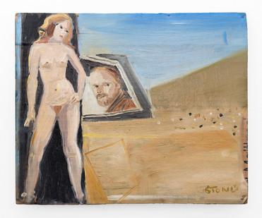 Simon Stone | Back Seat | 2019 | Oil on Cardboard | 27 x 32 cm