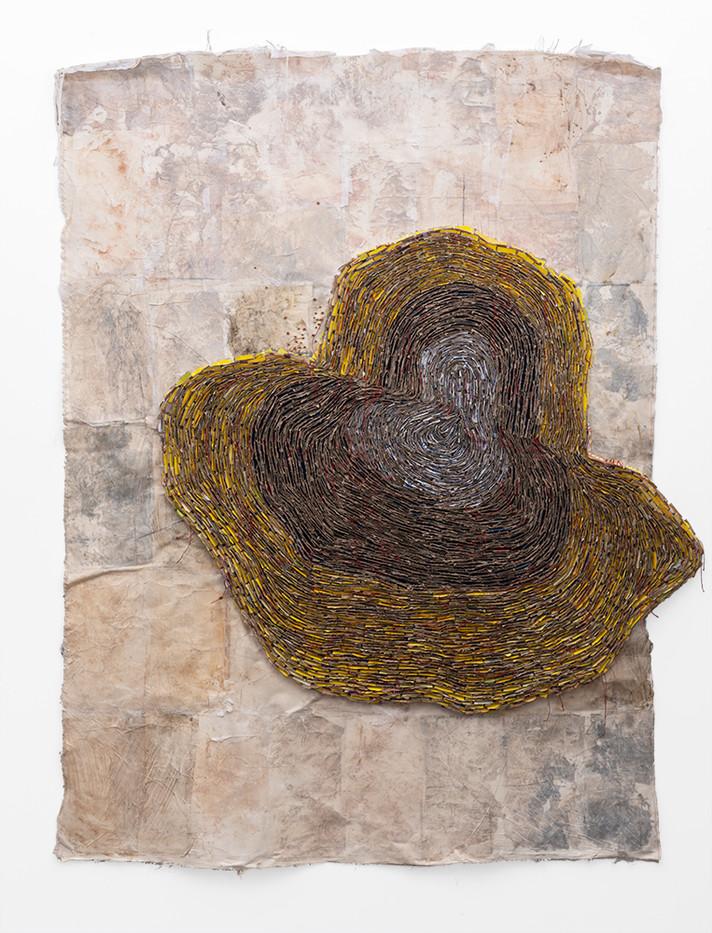 Wallen Mapondera | Melting Target I | 2019 | Cardboard, Waxed Thread and Wax Paper on Canvas | 200 x 158 cm