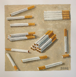 Simon Stone | Cigarettes | 2015 | Oil on Paper | 27 x 27 cm