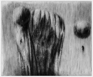 Johann Louw | Tarkovsky-balonne I | 2014 | Charcoal and White Conté on Paper | 125 x 148 cm