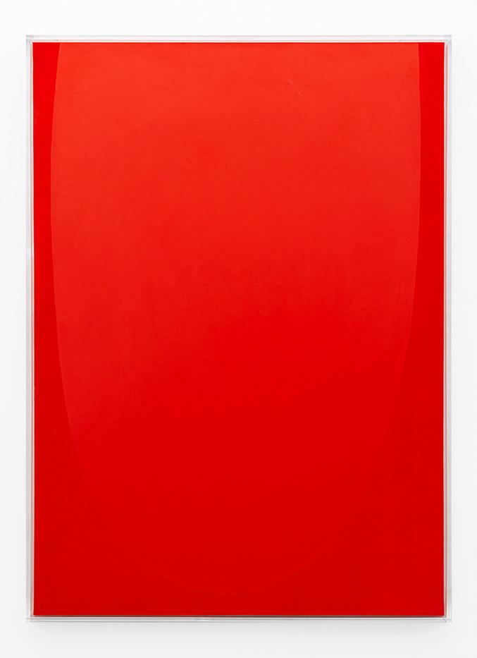 Pierre Vermeulen | Vermillion monochrome nr 3 | 2019 | Shellac and Acrylic on Belgian Linen | 100 x 73 x 4.5 cm