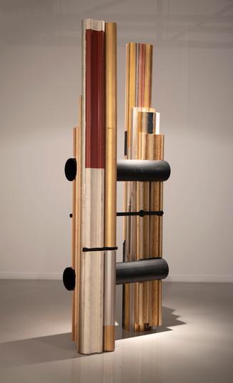Usha Seejarim   Slanted Representation (Side View)   2021   Reclaimed Frame Moldings and Steel Tube   210 x 80 x 55 cm