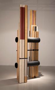 Usha Seejarim | Slanted Representation (Side View) | 2021 | Reclaimed Frame Moldings and Steel Tube | 210 x 80 x 55 cm
