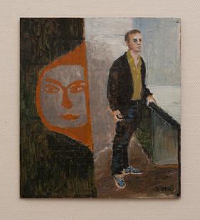 Simon Stone   Oscillate (Orange Face)   2016   Oil on Cardboard   26 x 23,5 cm