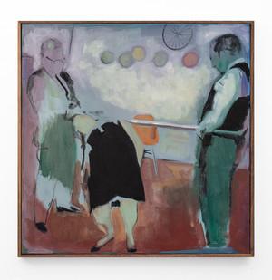 Kate Gottgens | Trio (Bending over Backwards) | 2018 | Oil on Canvas | 70 x 70 cm