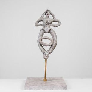 Marlene Steyn   Her In Her Voices (The Judger)   2017   Oil Paint on Ceramic, Brass, Marble   26 x 14 cm