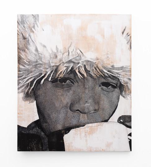Luyanda Zindela   Esela Iti   2020   Acrylic Paint Marker & Graphite on Pine Board   120 x 100 cm