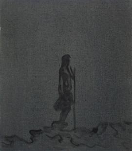 Peter Eastman | Figure in a Landscape II | 2015 | Distemper and Oil on Linen | 40 x 35 cm