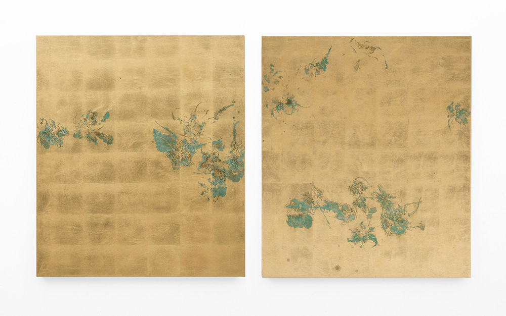 Pierre Vermeulen | Hair orchid sweat print, hemp | 2018 | Sweat, Gold Leaf Imitate and Shellac on Hemp | 105.5 x 180 cm