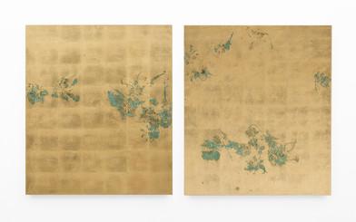 Pierre Vermeulen   Hair orchid sweat print, hemp   2018   Sweat, Gold Leaf Imitate and Shellac on Hemp   105.5 x 180 cm