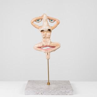 Marlene Steyn   Her In Her Voices (Nose Salon)   2017   Oil Paint on Ceramic, Brass, Marble   21 x 13 cm