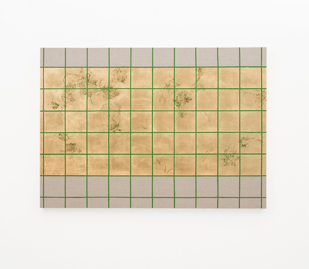 Pierre Vermeulen   Hair orchid sweat print, green grid II   2018   Sweat, Gold Leaf Imitate, Shellac and Acrylic on Belgian Linen   100 x 140 cm